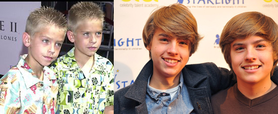 Dylan and Cole Sprouse - Then and now.