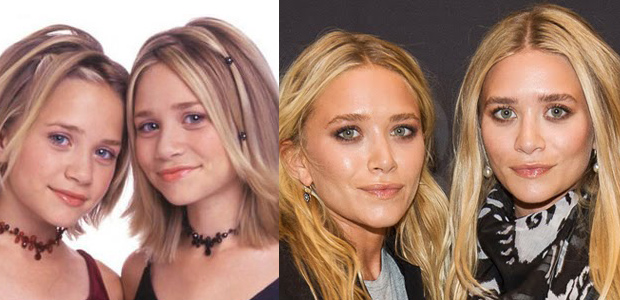 Mary Kate and Ashley Olsen - Then and now.