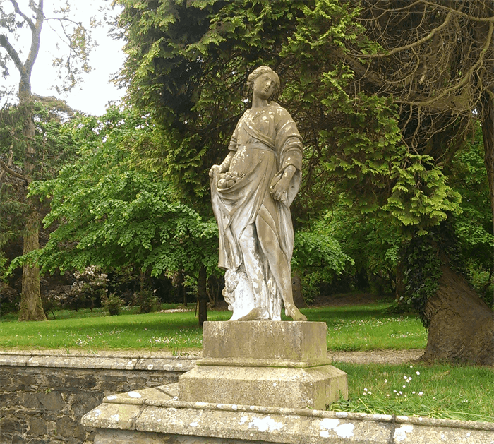 Old statue inside the grounds of Johnstown Castle.