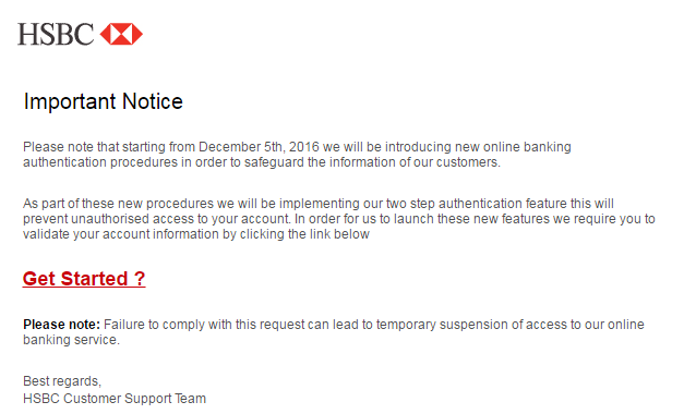 hsbc phishing scam