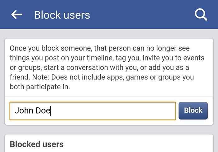 Block Users Facebook