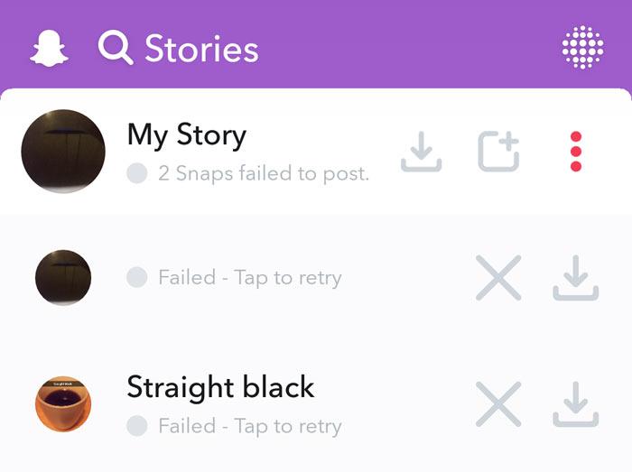 snapchat failed to post