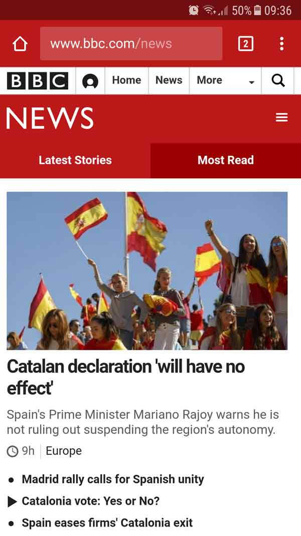 BBC Website Catalan Independence
