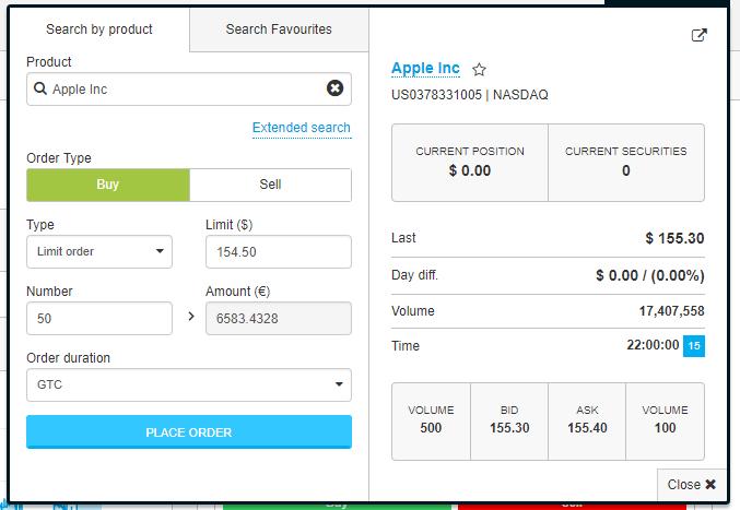 Degiro - Buy Limit Order