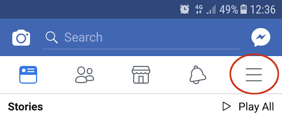 Facebook settings menu.
