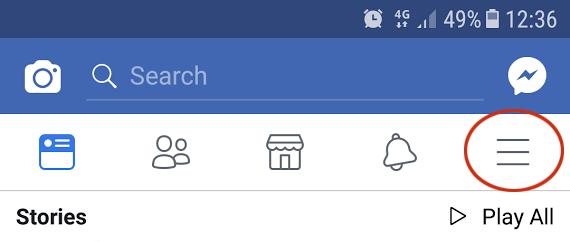 Facebook settings menu.