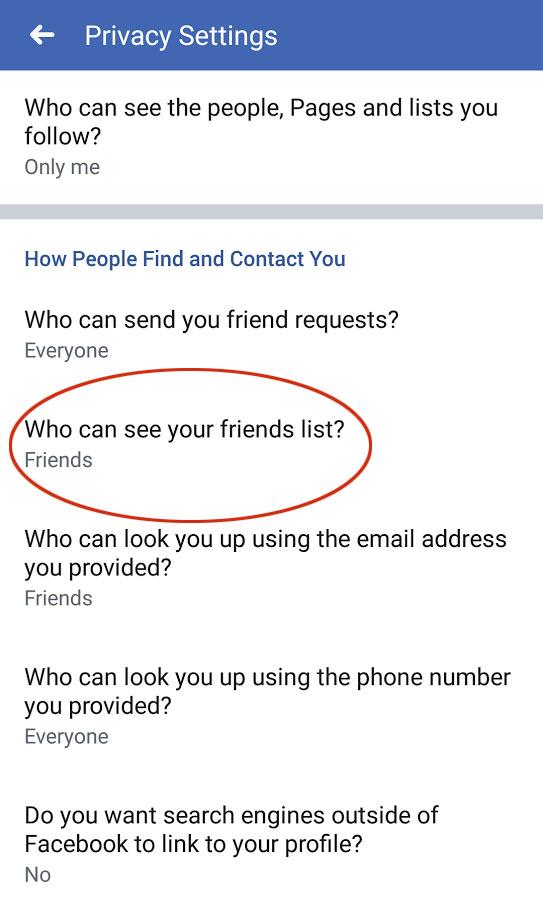 Hide your friends list on Facebook app