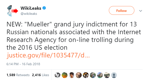 Wikileaks Tweet about Russian indictments.