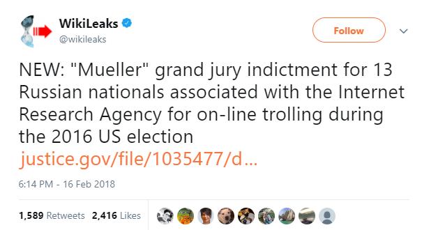 Wikileaks Tweet about Russian indictments.