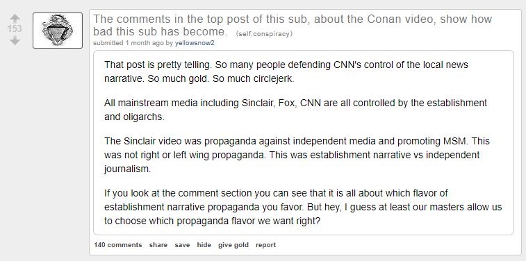 r/conspiracy - Reddit's conspiracy subreddit is owned by the alt-right