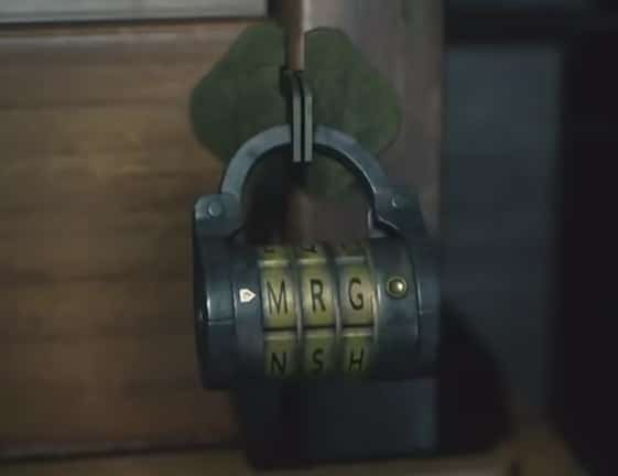 The right lock on Leon's desk.