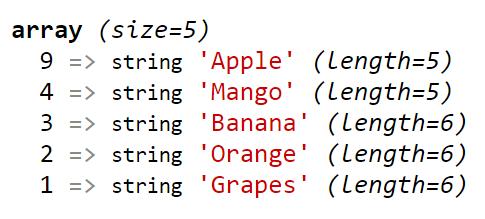 PHP krsort